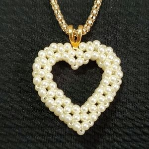 Betsey Johnson Pearl Heart on Gold Tone Necklace